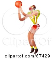 Royalty Free RF Clipart Illustration Of A Jumping Basketball Player Aiming For The Hoop by Prawny