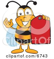 Bee Mascot Cartoon Character Holding A Red Clearance Sales Tag