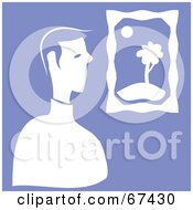 Royalty Free RF Clipart Illustration Of A White Man Viewing Art On Purple