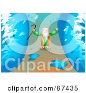 Royalty Free RF Clipart Illustration Of Moses Walking Through A Path Between Water Walls