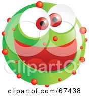 Royalty Free RF Clipart Illustration Of A Speckled Green Emoticon Face by Prawny