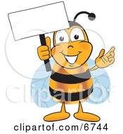 Clipart Picture Of A Bee Mascot Cartoon Character Holding A Blank White Sign by Toons4Biz