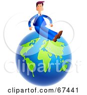Royalty Free RF Clipart Illustration Of A Businessman Sitting On Top Of A Blue And Green Globe
