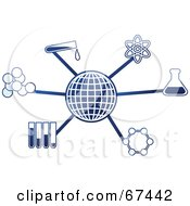 Royalty Free RF Clipart Illustration Of A Blue Molecule Science Globe by Prawny