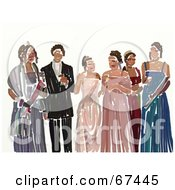 Royalty Free RF Clipart Illustration Of Teen Girls In Their Prom Dresses With A Man