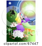Royalty Free RF Clipart Illustration Of A Bright Light Blinding Shepherds by Prawny