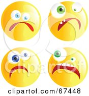 Royalty Free RF Clipart Illustration Of A Digital Collage Of Yellow Nervous Emoticon Faces