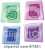 Royalty Free RF Clipart Illustration Of A Digital Collage Of Square Number Icons 5 Through 8