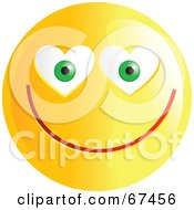 Royalty Free RF Clipart Illustration Of An Amorous Yellow Emoticon Face Version 3 by Prawny