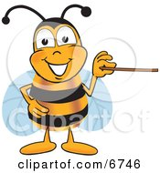 Clipart Picture Of A Bee Mascot Cartoon Character Holding A Pointer Stick by Toons4Biz