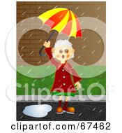 Royalty Free RF Clipart Illustration Of A Granny Stuck On A Rainy Day by Prawny