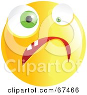 Royalty Free RF Clipart Illustration Of A Yellow Nervous Emoticon Face Version 2