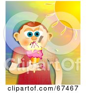 Royalty Free RF Clipart Illustration Of A Little Boy Eating Melting Ice Cream On A Cone Under A Hot Sun by Prawny