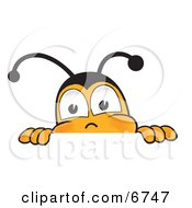 Bee Mascot Cartoon Character Peeking Over A Horizontal Surface