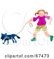 Little Girl Walking Her Blue Dog