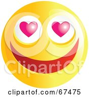 Royalty Free RF Clipart Illustration Of An Amorous Yellow Emoticon Face Version 1 by Prawny