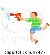 Royalty Free RF Clipart Illustration Of A Boy Running And Squirting A Water Gun