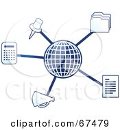 Royalty Free RF Clipart Illustration Of A Blue Molecule Office Globe Version 1