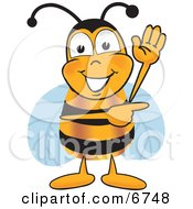 Bee Mascot Cartoon Character Waving And Pointing To The Right