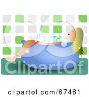 Royalty Free RF Clipart Illustration Of A Blond Woman Taking A Bubble Bath In A Tiled Bathroom by Prawny