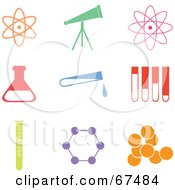 Royalty Free RF Clipart Illustration Of A Digital Collage Of Colorful Science Icons by Prawny