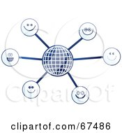 Royalty Free RF Clipart Illustration Of A Blue Molecule Happy Face Globe