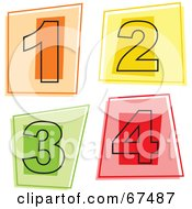 Royalty Free RF Clipart Illustration Of A Digital Collage Of Square Number Icons 1 Through 4