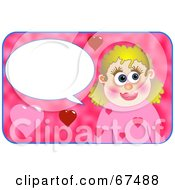 Royalty Free RF Clipart Illustration Of A Happy Woman With A Text Balloon And Hearts
