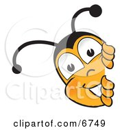Clipart Picture Of A Bee Mascot Cartoon Character Peeking His Head Around A Corner by Toons4Biz