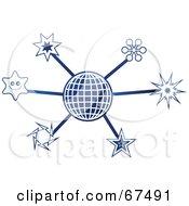 Royalty Free RF Clipart Illustration Of A Blue Molecule Star Globe by Prawny