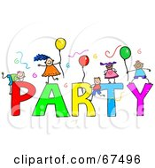 Royalty-Free (RF) Clipart Illustration of Children With PARTY Text by Prawny