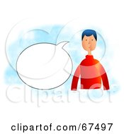 Royalty Free RF Clipart Illustration Of A Man With A Text Balloon On Blue And White