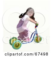 Royalty Free RF Clipart Illustration Of A Little Girl Riding A Scooter by Prawny