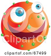 Royalty Free RF Clipart Illustration Of A Speckled Orange Emoticon Face by Prawny