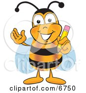 Bee Mascot Cartoon Character Holding A Pencil
