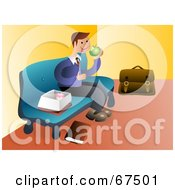 Royalty Free RF Clipart Illustration Of A Businessman Sitting On A Bench And Eating Lunch by Prawny