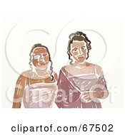 Royalty Free RF Clipart Illustration Of Two Teen Girls In Their Prom Dresses