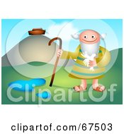 Royalty Free RF Clipart Illustration Of Noah Holding A Bird Near His Ark by Prawny