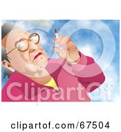 Royalty Free RF Clipart Illustration Of An Old Woman Smoking A Cigarette Against A Sky by Prawny