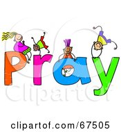 Royalty Free RF Clipart Illustration Of Children With PRAY Text by Prawny