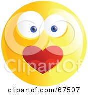 Royalty Free RF Clipart Illustration Of An Amorous Yellow Emoticon Face Version 2