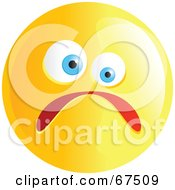 Royalty Free RF Clipart Illustration Of A Yellow Nervous Emoticon Face Version 1