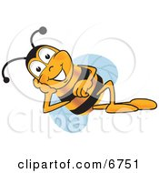 Clipart Picture Of A Bee Mascot Cartoon Character Resting His Face On His Hand by Toons4Biz