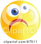 Royalty Free RF Clipart Illustration Of A Yellow Nervous Emoticon Face Version 3