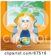 Royalty Free RF Clipart Illustration Of A Sad Boy Sitting In Front Of A Bowl Of Soup by Prawny