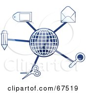 Royalty Free RF Clipart Illustration Of A Blue Molecule Office Globe Version 2 by Prawny