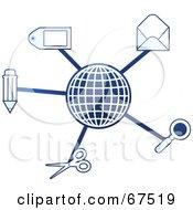 Royalty Free RF Clipart Illustration Of A Blue Molecule Office Globe Version 2 by Prawny