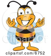 Clipart Picture Of A Bee Mascot Cartoon Character Greeting With Open Arms