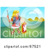 Royalty Free RF Clipart Illustration Of A Roman Soldier Standing In A Hilly Landscape by Prawny