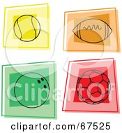 Royalty Free RF Clipart Illustration Of A Digital Collage Of Colorful Sports Squares by Prawny